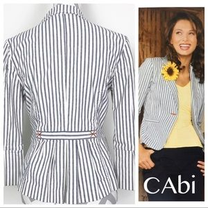 CAbi Blue White Striped Blazer Bell Sleeves 793